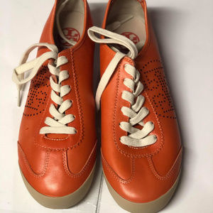 Tory Burch Orange Leather Sneakers Size 9M #94 $27
